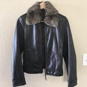 Sisley Cafe Brown Leather Jacket with Fur Collar
